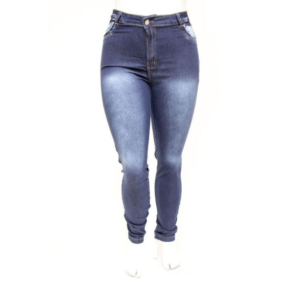 Calça Jeans Feminina Plus Size Hot Pants Azul Escura Cheris