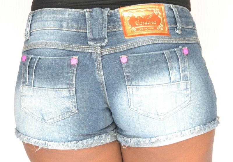 Shorts Jeans Manchado com Elastano