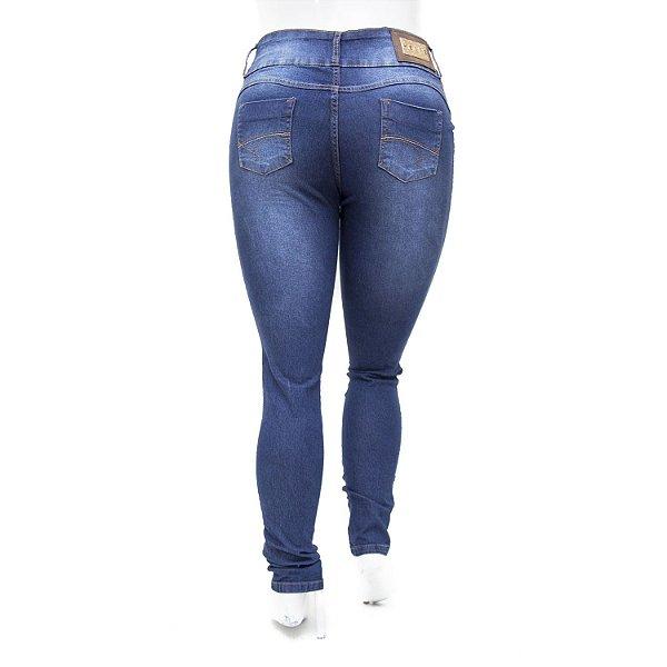 Calça Jeans Feminina Plus Size Azul Escura Helix Cintura Alta