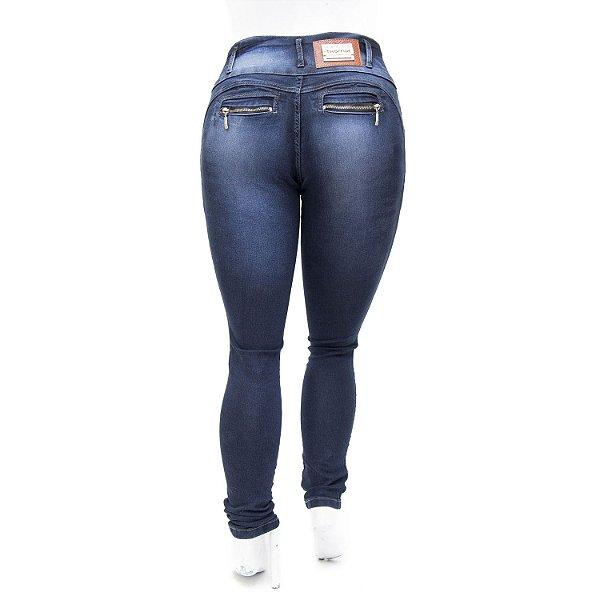 Calça Jeans Feminina Escura Plus Size Cintura Alta Thomix