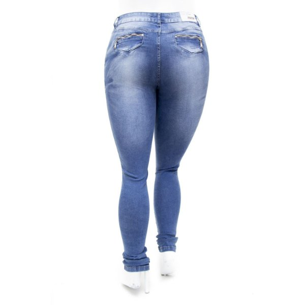 Calça Jeans Feminina Hot Pants Azul Manchada Plus Size Thomix