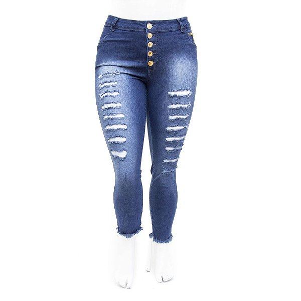 Calça Jeans Feminina Cropped Rasgadinha Plus Size Thomix
