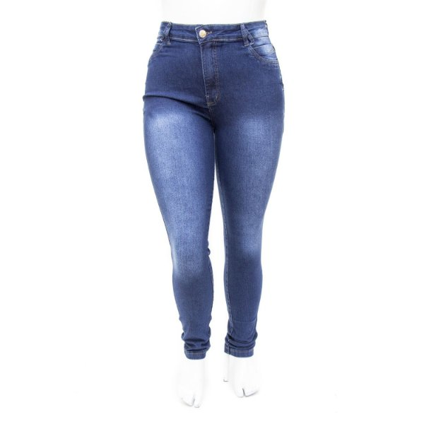 Calça Jeans Feminina Plus Size Hot Pants Azul Cheris