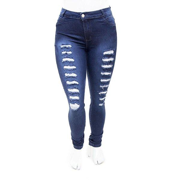 Calça Jeans Feminina Plus Size Azul Rasgadinha Cheris com Lycra