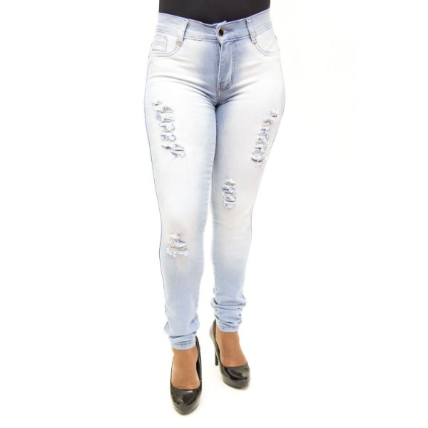 Calça Jeans Feminina Rasgadinha Clara Helix com Lycra