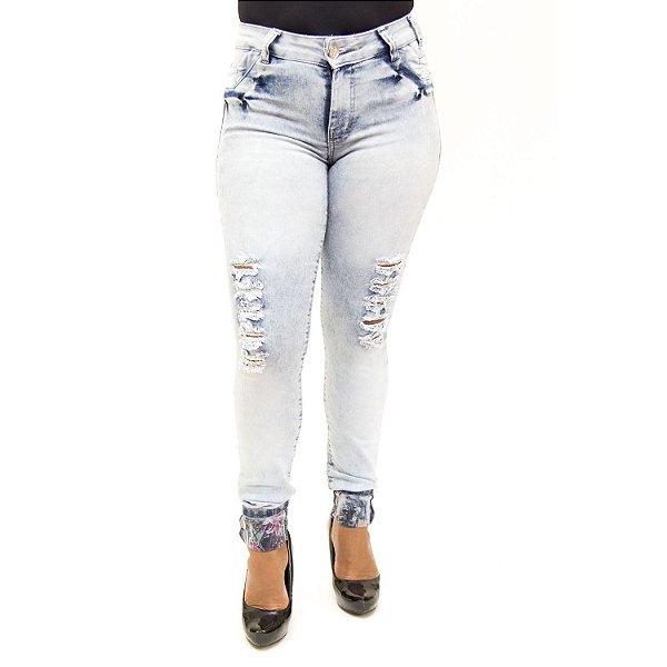Calça Jeans Feminina Rasgadinha Clara Cheris com Lycra