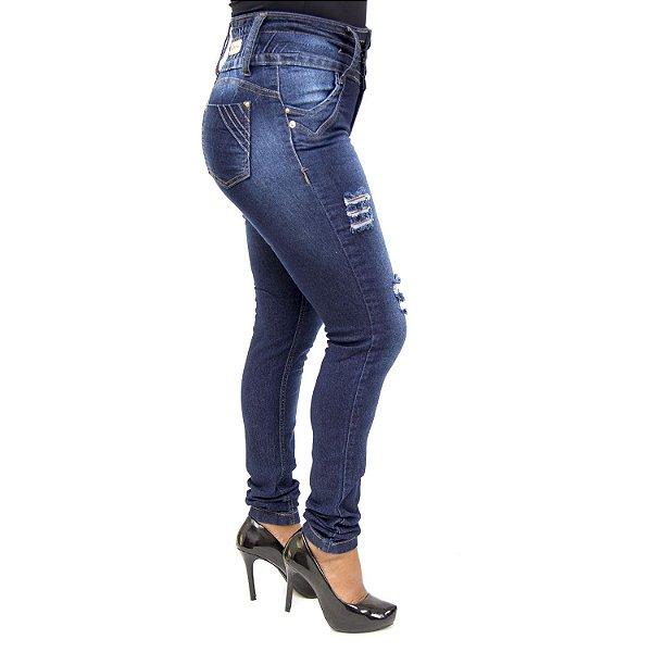 Calça Jeans Feminina Rasgadinha com Elástico Cheris com Lycra