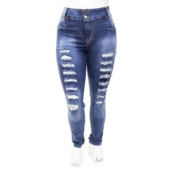 Calça Jeans Plus Size Feminina Rasgadinha Cheris Cintura Alta