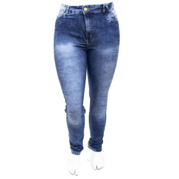 Calça Jeans Plus Size Cintura Alta Hot Pants Manchada