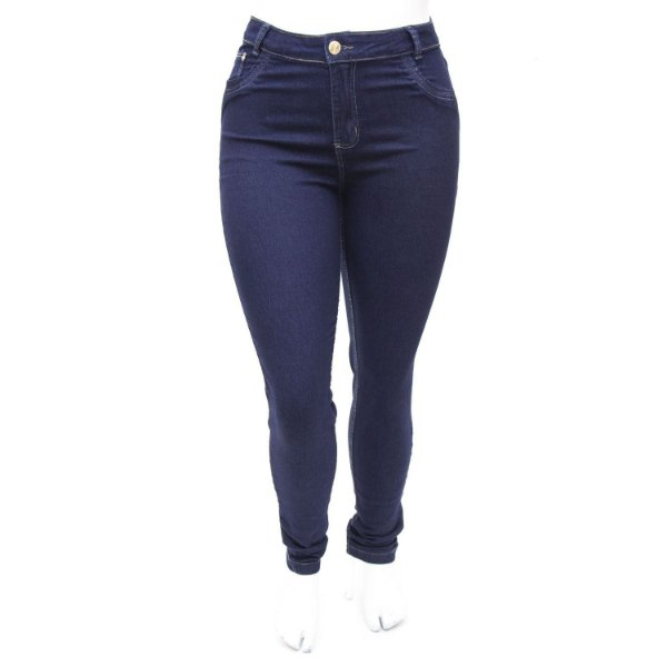 Calça Jeans Plus Size Hot Pants Cintura Alta Azul Carbono