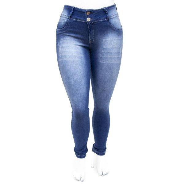 Calça Jeans Plus Size Azul Manchada Thomix Cintura Alta