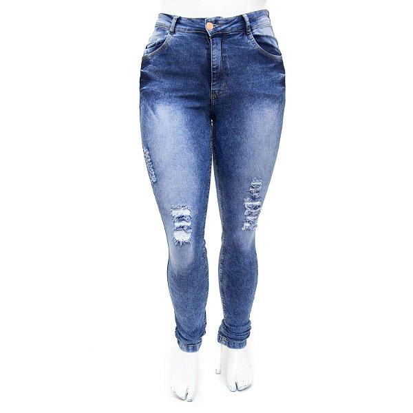 Calça Jeans Plus Size Rasgadinha Hot Pants Manchada Thomix