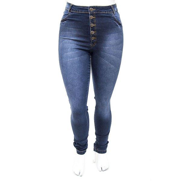 Calça Jeans Plus Size Hot Pants Cintura Alta Escura Helix
