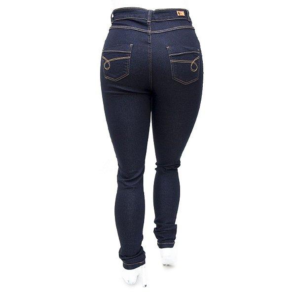 Calça Jeans Plus Size Cintura Alta Básica Escura Helix