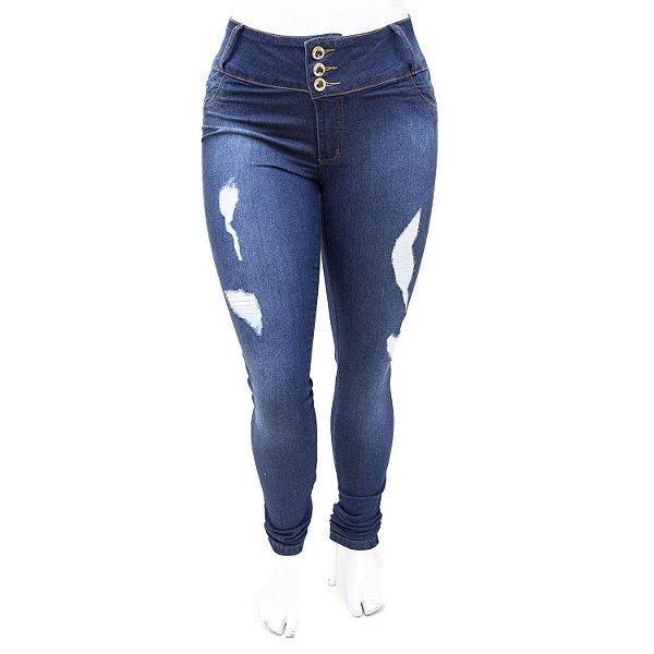 Calça Jeans Plus Size Rasgadinha Cintura Alta Credencial