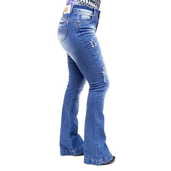 Calça Jeans Feminina Flare Rasgadinha Thomix
