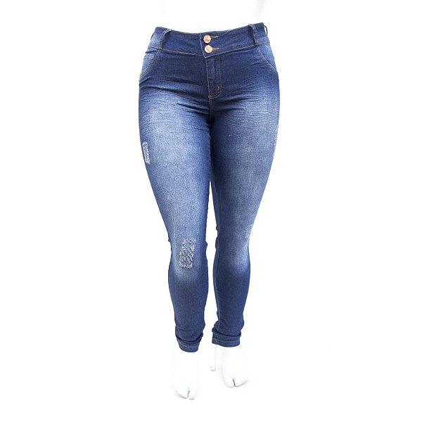 Calça Jeans Feminina Plus Size Rasgadinha Deerf