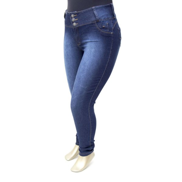 Calça Plus Size Jeans Feminina Azul Credencial Cintura Alta