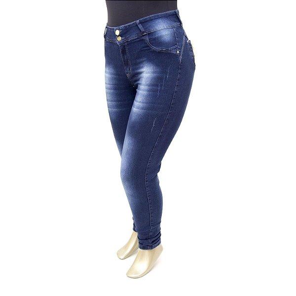 Calça Plus Size Jeans Feminina Escura Cheris