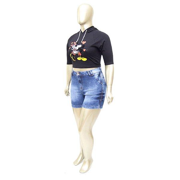 Shorts Jeans Plus Size Manchado Cheris