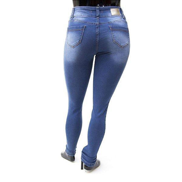 Calça Jeans Plus Size Feminina Credencial Azul Cintura Alta