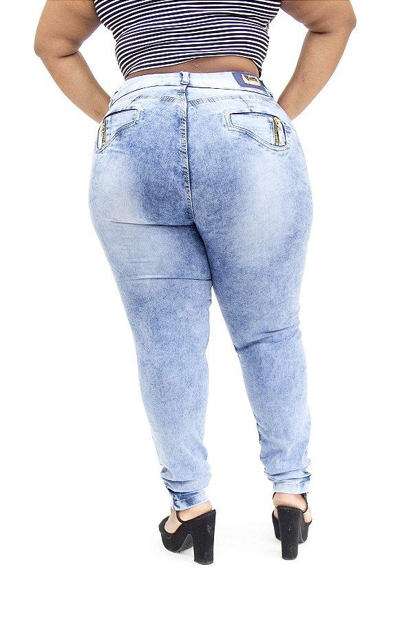 Calça Jeans Cheris Plus Size Skinny Rafaely Azul