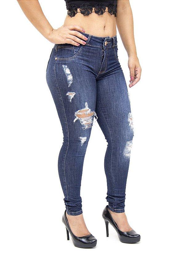 Calça Jeans Deerf Skinny Rasgada Eliana Azul