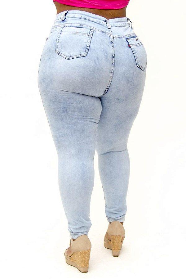 Calça Jeans Cambos Plus Size Skinny Rasgada Lana Azul