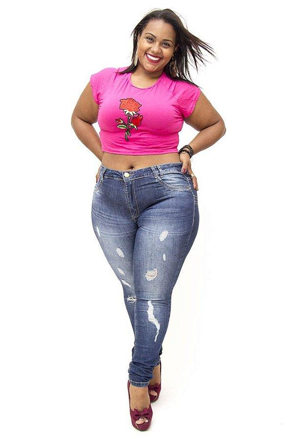 Calça Jeans Plus Size Feminina Rasgadinha Sawary Sheila