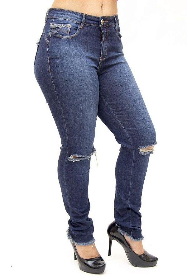 Calça Jeans Consciência Skinny Rasgada Thelma Azul