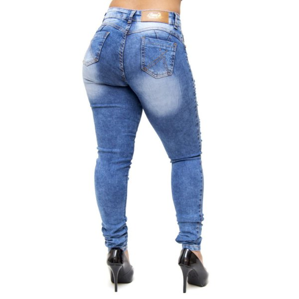 Calça Jeans Bunny Skinny Rasgada Marluce Azul