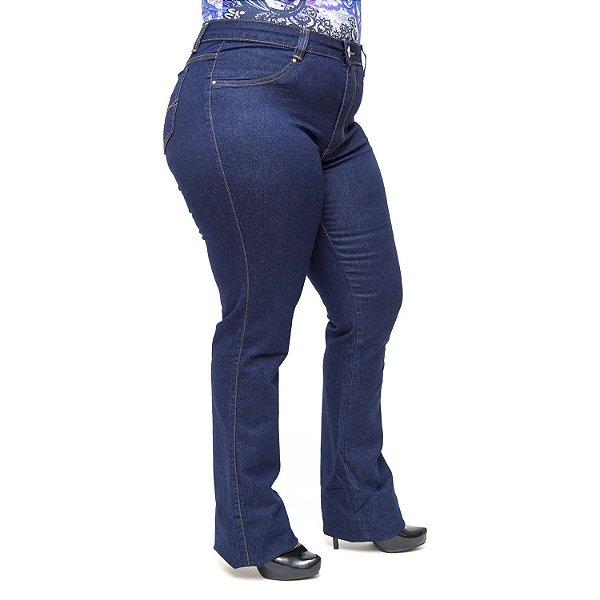 Calça Jeans Cambos Plus Size Flare Ketlyn Azul