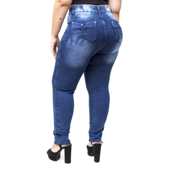 Calça Jeans Cheris Plus Size Skinny Thainah Azul