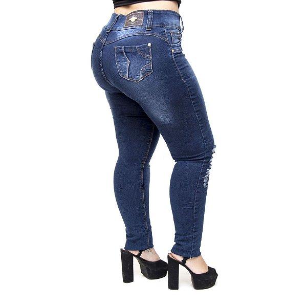Calça Jeans Credencial Plus Size Skinny Rasgada Mayna Azul