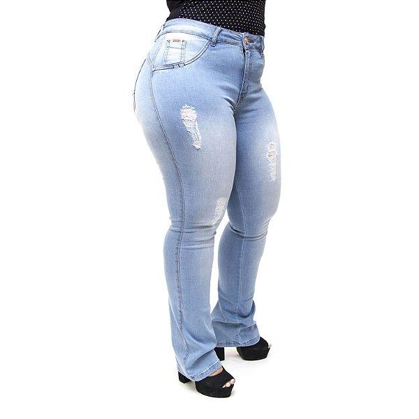 Calça Jeans MC2 Plus Size Flare Nattieli Azul