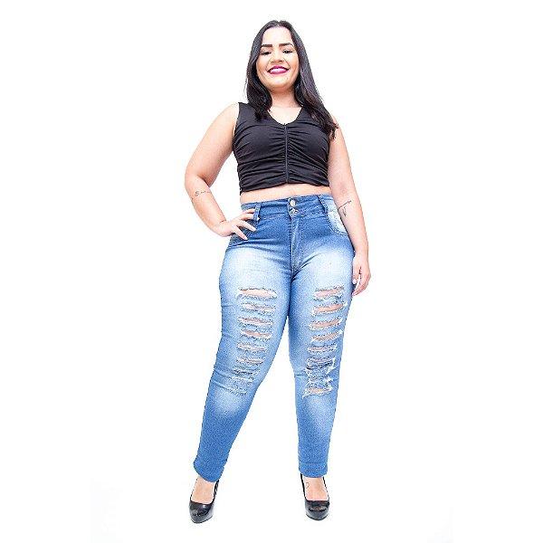 Calça Jeans Cheris Plus Size Skinny Stephany Azul