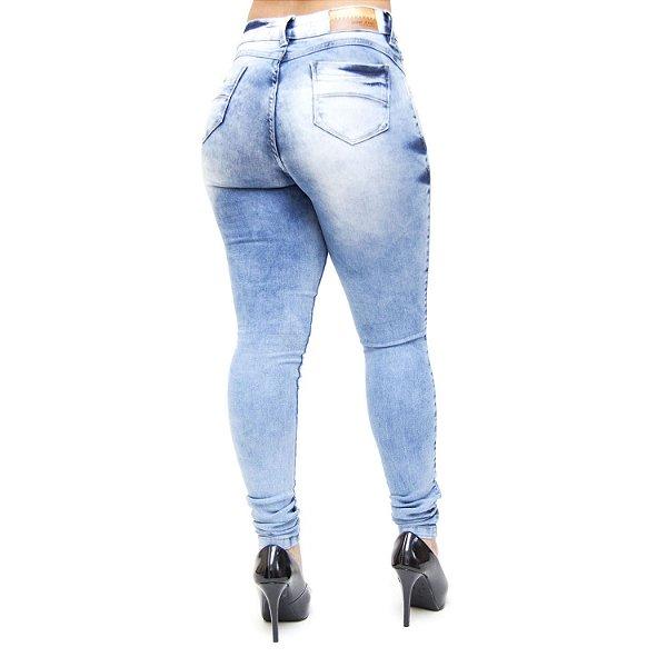 Calça Jeans Feminina Deerf Manchada Skinny Otavia Azul
