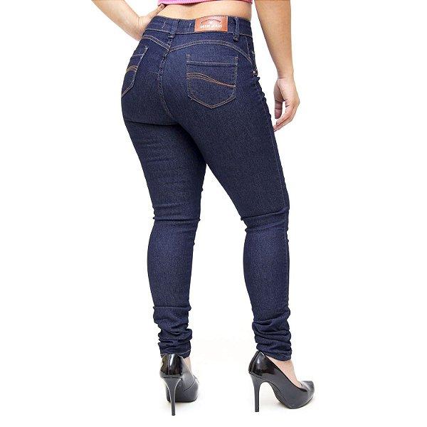 Calça Jeans Feminina Deerf Escura Skinny Nalim Azul