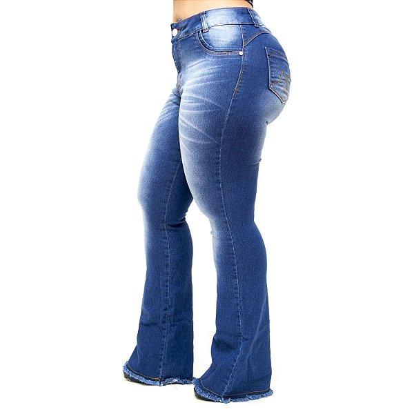 Calça Jeans Credencial Plus Size Flare Grazielly Azul