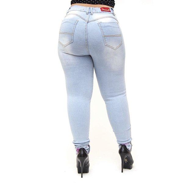 Calça Jeans Cheris Plus Size Skinny Francesca Azul