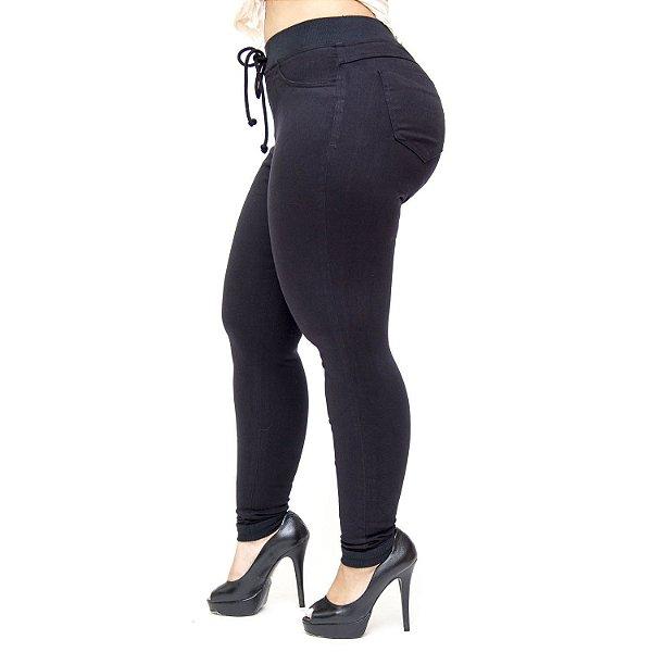 Calça Jeans Cambos Plus Size Skinny Esportiva Julye Preta