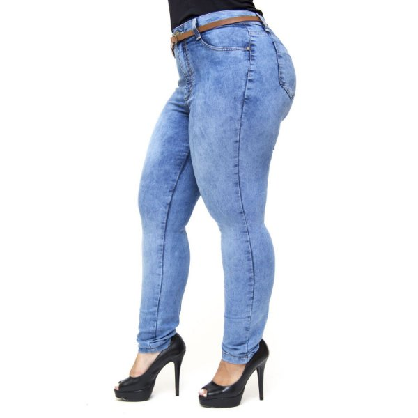 Calça Jeans Cambos Plus Size Skinny Joseneida Azul