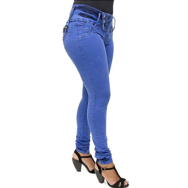Calça Jeans Legging Credencial Azul Royal Manchada