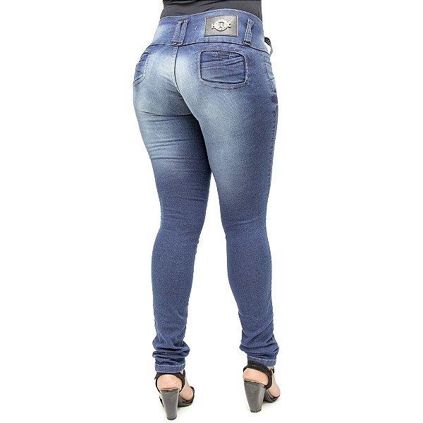 Calça Jeans Feminina Legging Helix Lavagem Azul Levanta Bumbum
