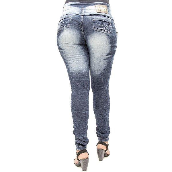 Calça Jeans Legging Deerf Lavagem Escura Manchada com Elastano