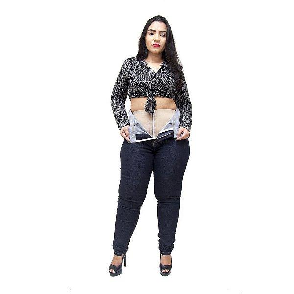 Calça Jeans Xtra Charmy Plus Size com Cinta Skinny Adyla Azul