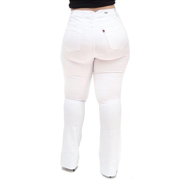 Calça Jeans Feminina Cambos Plus Size Flare Taizi Branca