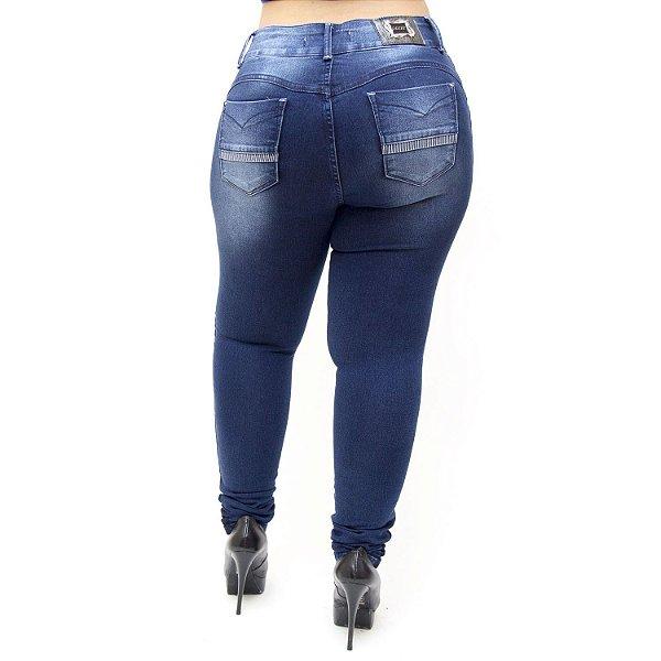 Calça Jeans Feminna Deerf Plus Size Skinny Eluana Azul