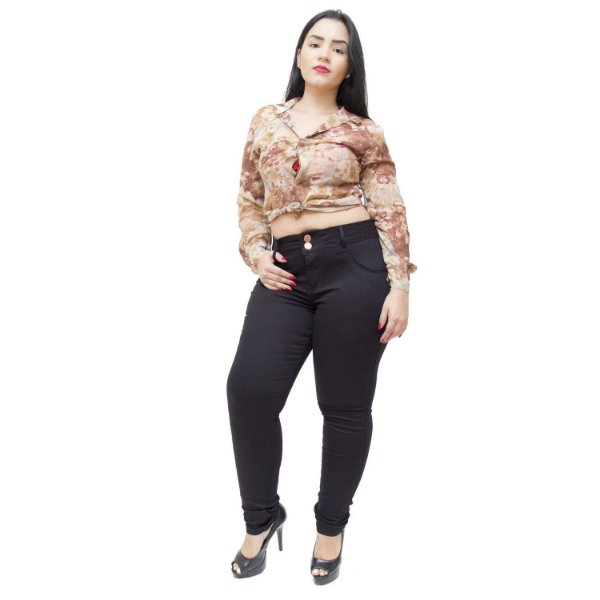 Calça Jeans Feminna Deerf Plus Size Skinny Rivka Preta
