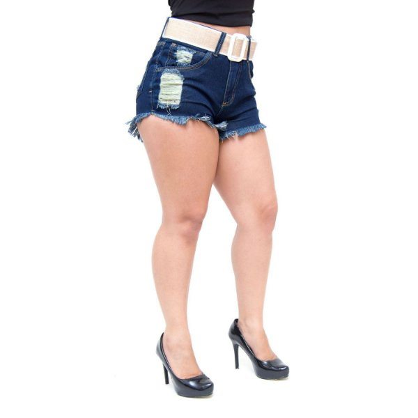 Shorts Jeans Feminino 23 Graus Rasgadinho Audeni Azul